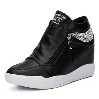 0c5c74f99bb3 LIURUIJIA Women Hidden Wedges Ankle Boots Fashion Sneaker High Top Flats  Platform Casual black-40