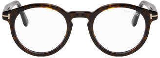 Tom Ford Tortoiseshell Block Round Glasses