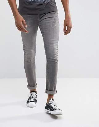 Asos Super Skinny Jeans In Gray With Abrasions