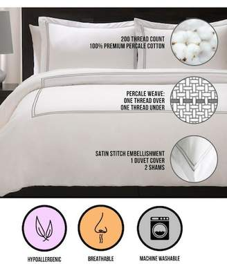 Ella Jayne Home Satin Stitched Percale Duvet Set - King\u002FCal King - Silver