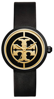 Tory Burch The Reva Luggage Goldtone Black Leather Watch
