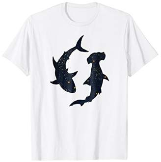 Cool Galaxy Shark Space Gold Stars Hammerhead Sharks T Shirt