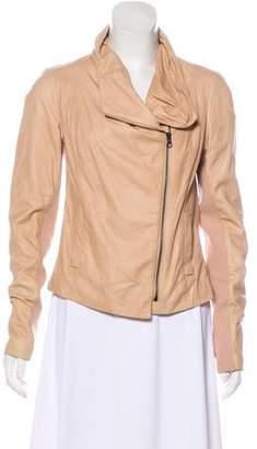Vince Knit Trimmed Leather Jacket