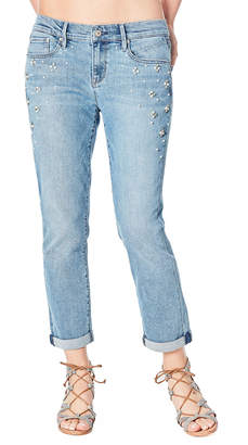 Nicole Miller New York Mid-Rise Pearly-Side Boyfriend Jeans
