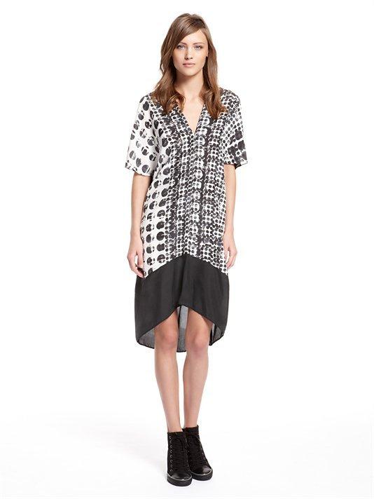 DKNY Claudine Print Washed Silk Kimono Sleeve V-Neck Dress With High/Low Hem