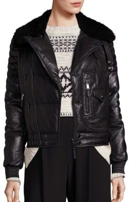 Polo Ralph Lauren Shearling-Trim Down Moto Jacket $1,498 thestylecure.com