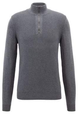 BOSS Hugo Zipper-neck sweater in Italian merino wool XL Grey