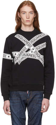 DSQUARED2 Black Logo Stripes Sweatshirt