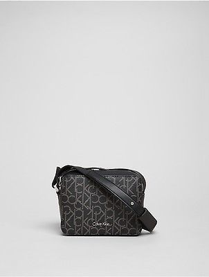 Calvin Klein Calvin Klein Womens Tina Monogram Crossbody Bag Black Monogram