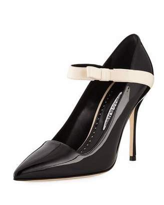 Manolo Blahnik Immaculada Patent Mary Jane Pumps, Black