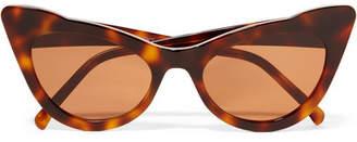 Ganni Lulu Cat-eye Tortoiseshell Acetate Sunglasses