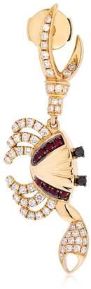 Leon Yvonne Paris Crab Gold, Diamond & Ruby Mono Earring