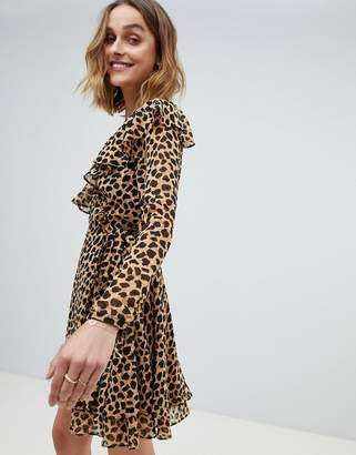Free People LEOPARD Print Frenchie mini wrap dress