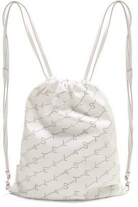 Stella Mccartney - Logo Pattern Faux Leather Drawstring Backpack - Womens - White