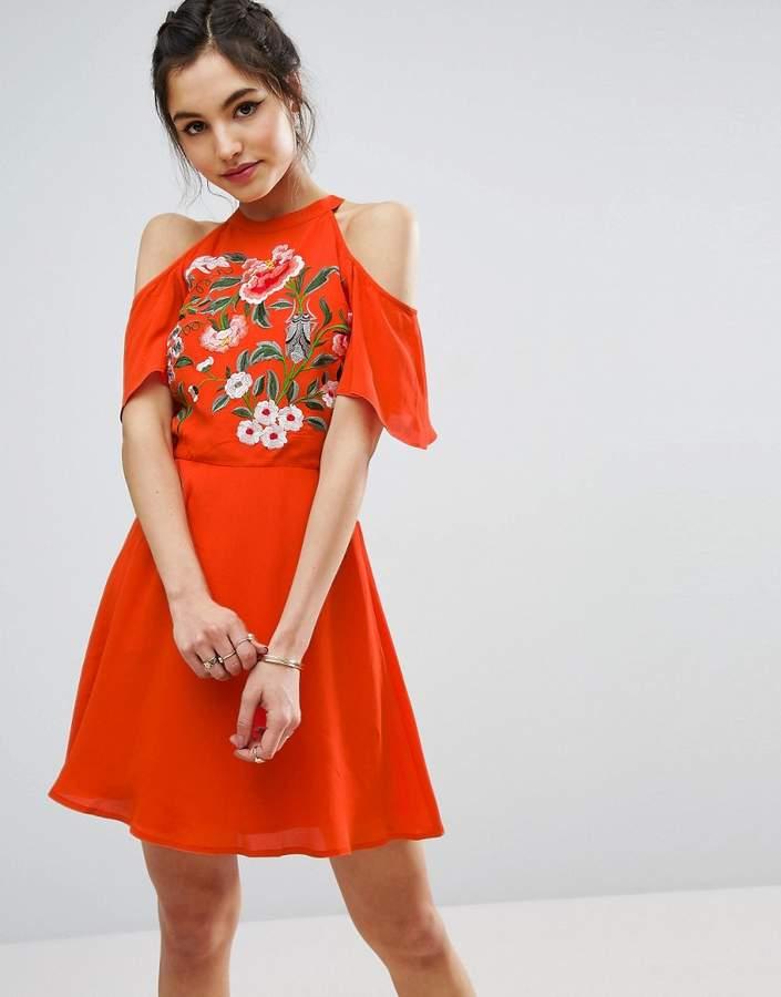 AsosASOS Cold Shoulder Skater Dress With Floral Embroidery