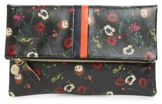Clare V. Floral Leather Foldover Clutch - Black $235 thestylecure.com
