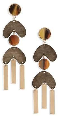 Lula Wood & Metal Drop Earrings