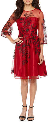 J Taylor 3/4 Sleeve Embellished Floral Fit & Flare Dress