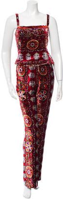 Oscar de la Renta Patterned Velvet Pantsuit $175 thestylecure.com