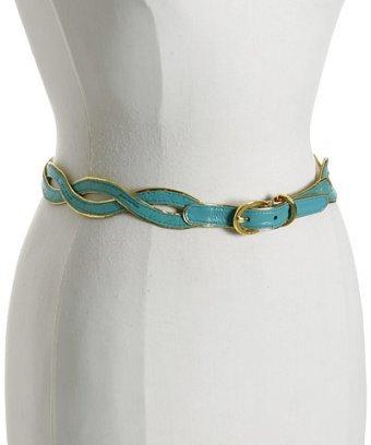 Tahari turquoise trimmed leather wave belt