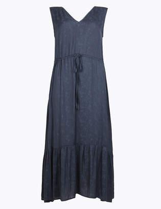 Marks and Spencer Satin Jacquard Waisted Midi Dress