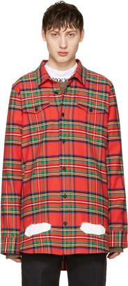 Off-White Red Check Diagonal Spray Shirt $545 thestylecure.com