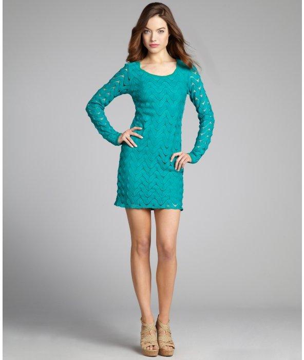 Free People emerald crochet 'Wild Thing' long sleeve dress