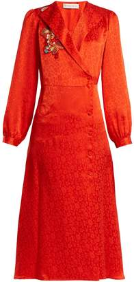 Etro Plutone floral-embroidered button-down satin dress