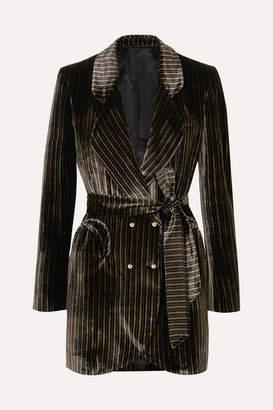 Blazé Milano - Sunshine Belted Striped Velvet Mini Dress - Black