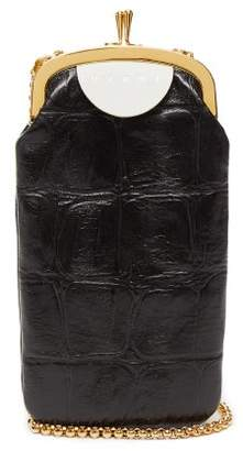 Marni Top Frame Crocodile Effect Leather Bag - Womens - Black