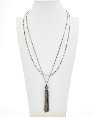 Rachel Reinhardt Plated Hematite & Cz Necklace