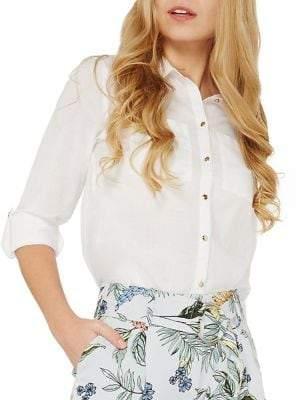 Dorothy Perkins Plain Cotton Button-Down Shirt