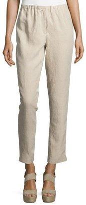 Neiman Marcus Elastic-Waist Slim-Leg Ankle Pants, Tan $150 thestylecure.com