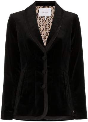 Frame single breasted and printed lined velvet blazer