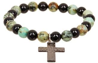 Jean Claude Camouflage Tanzanian Turquoise & Black Agate Beaded Stretch Bracelet