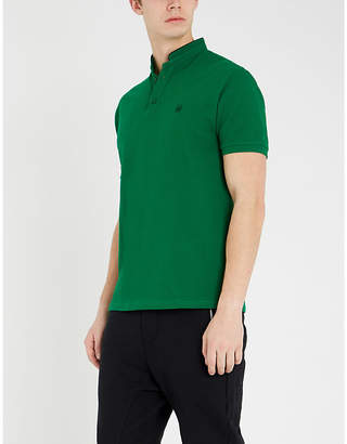 The Kooples Mandarin-collar cotton-piqué polo shirt