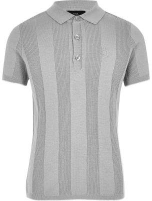 River Island Boys RI grey wide ribbed polo shirt