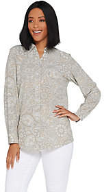 Denim & Co. Stretch Woven Button Front Long-Sleeve Shirt