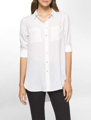 Calvin Klein solid roll-up sleeve tunic
