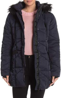 Nicole Miller Removable Faux Fur Trim Hood Quilted Coat