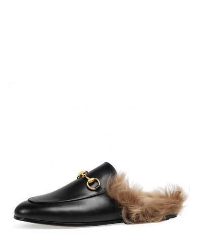 GucciGucci Princetown Fur-Lined Mule, Black