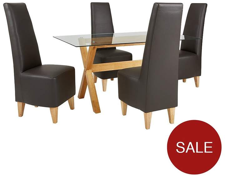 Venla 150 Cm Solid Wood And Glass Dining Table + 4 Manhattan Chairs