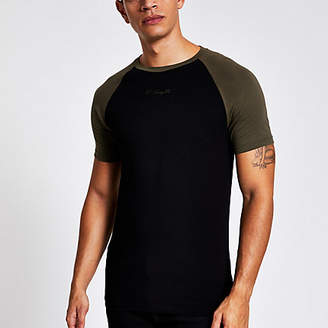 River Island Black R96 raglan muscle fit T-shirt