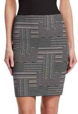 Akris Punto Women's Patchwork Jacquard Pencil Skirt - Black Cream - Size 8