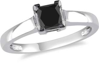 Black Diamond Asteria 1 Carat T.W. Princess-Cut 10kt White Gold Solitaire Engagement Ring