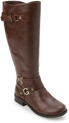 g by guess Dark Brown Hurdle Buckled Knee High Boots $99 thestylecure.com