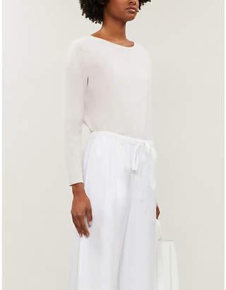 The White Company Cutout-back stretch-cotton T-shirt