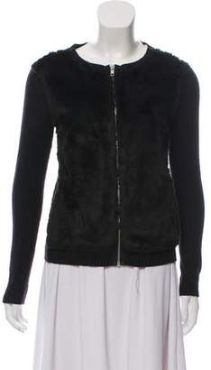 The Kooples Faux Fur-Accented Cardigan