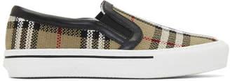 Burberry Beige Delaware Monogram Slip-On Sneakers