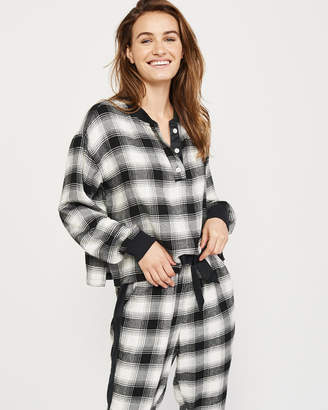 Abercrombie & Fitch Flannel Henley Sleep Shirt